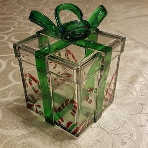 Molded acrylic holiday gift box, Candy canes